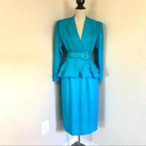 Vintage 100% Silk Teal Blue Skirt Suit size 8